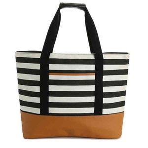 DSW Exclusive Black and White Striped Tote Bag